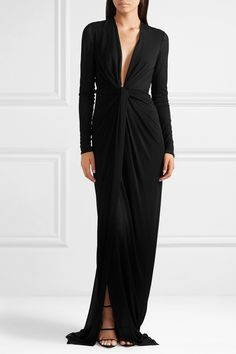 Black stretch-jersey Concealed hook and zip fastening at back viscose Made in ItalyLarge to size. Evening Attire, Evening Dresses, Long Dresses, Maroon Bridesmaid Dresses, You Look Fab, Plunging Neckline, Beautiful Gowns, Tom Ford, High Fashion