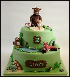 The Gruffalo Oh no it's the GruffaloLittle Liam likes this story very much and his mother asked me to make this cake for him. Gruffalo Party, The Gruffalo, 2 Birthday Cake, 3rd Birthday Parties, Birthday Ideas, Gorgeous Cakes, Amazing Cakes, Gruffalo's Child, Cake Craft