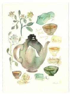 Tea watercolor painting  Darjeeling tea   Art by lucileskitchen, $68.00