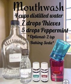 Harsh chemicals-free mouthwash using Thieves and Peppermint essential oils - both included in Young Living premium starter kits. Visit link to start an oily journey of your own! Thieves Essential Oil, My Essential Oils, Young Living Essential Oils, Essential Oil Blends, Yl Oils, Young Living Oils, Young Living Thieves, Mouthwash, Carrier Oils