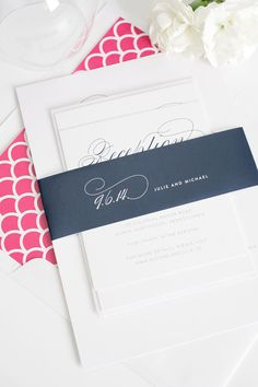 Elegant script wedding invitations in pink and navy and blue | Shine Wedding Invitations