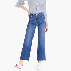Cropped Jeans & Pants for Women Wide-leg cropped jean with chewed hems - Women& Pants Kimono Fashion, Denim Fashion, Wide Leg Denim, Cropped Trousers, Pants For Women, Clothes, Women's Pants, Style Ideas, Style Inspiration
