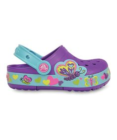 Love this Crocs Neon Purple CrocsLights Butterfly Clog - Toddler & Girls by Crocs on #zulily! #zulilyfinds