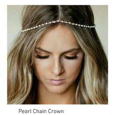 Pearl Head Chain Bride Crown Delicate faux pearl and gold chain head crown.  Comes new with tags in gift box. Accessories Hair Accessories