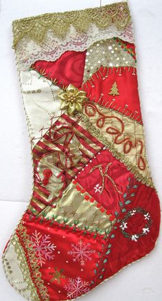 for Kim 2009 I ❤ crazy quilting & embroidery . Stocking for Kim 2009 ~By CrazybydesignI ❤ crazy quilting & embroidery . Stocking for Kim 2009 ~By Crazybydesign Crazy Quilting, Crazy Quilt Stitches, Crazy Quilt Blocks, Christmas Sewing, Christmas Projects, Christmas Crafts, Christmas Tables, Nordic Christmas, Modern Christmas