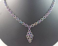 Chainmail Necklace, Half Byzantine, Japanese 12 in 2, Necklace with Pendant, Colorful, Sterling Silver, Anodized Niobium, Handmade Jewelry