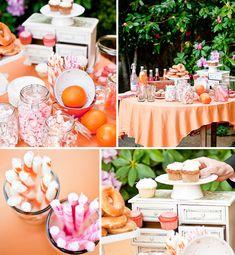 Orange and pink garden bridal shower. Orange And Pink Wedding, Orange Party, Orange Pink, Orange Weddings, Wedding Desserts, Wedding Decorations, Wedding Ideas, Pink Decorations, Pink Garden