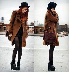 Romwe Coat, Jessica Buurman Shoes, Vintage Bag, Vintage Blouse, Proopticals Glasses