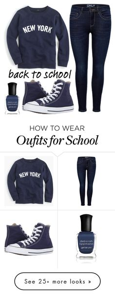 """""""back to school"""" by j-n-a on Polyvore featuring J.Crew, Converse, Deborah Lippmann and BackToSchool"""
