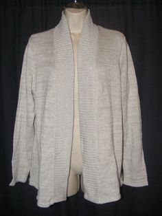Chico's Beige Cotton Blend Open Front Cardigan Sweater Jacket 3 XL #Chicos #Cardigan