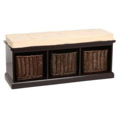 Padded Storage Bench with Baskets
