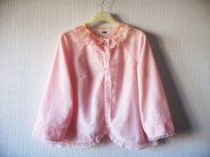 Vintage Babydoll Bed Jacket Pale Pink Nylon Lace Collar