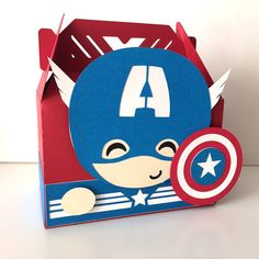 Adorable Avengers themed party favor boxes. Captain America.