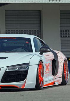 White Audi R8 With Orange Rims