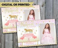 Unicorn Birthday Invitation, Unicorn Invitation, Unicorn Invite, Unicorn Party Invitation, Horse, Pony, Pink, Glitter, Rainbow, Photo #271 by PerfectPrintableCo on Etsy