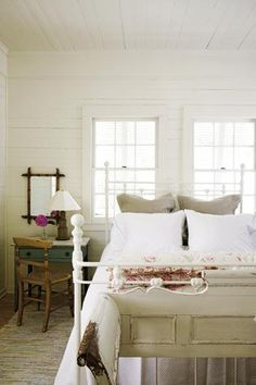 Love the furniture and white planked walls: Charleston Mag Closet Bedroom, Bedroom Decor, Sullivans Island, Plank Walls, Charleston, Beach House, Bedrooms, Shabby Chic, Comfy