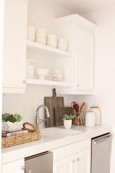 White kitchen + styling — Owens and Davis All White Kitchen, New Kitchen, Kitchen Dining, Kitchen Decor, Neutral Kitchen, Transitional Kitchen, Small Kitchen Counters, Organizing Kitchen Counters, Kitchen Countertop Decor
