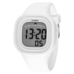 Silvercell Women Sports LED Digital Silicone Band Waterproof Wrist Watch White