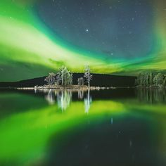 Northern lights over Inari Finland.