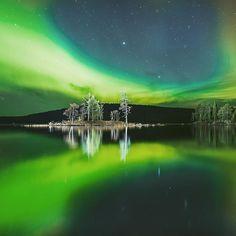 Northern lights over Inari Finland.