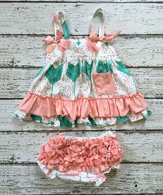 Look at this Chicaboo Coral & White Arrow A-Line Dress & Diaper Cover - Infant & Kids on #zulily today!