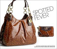 COACH Animal print purse with wristlet