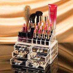 Clear Acrylic Cosmetics Organizer with 6 Medium Drawers ~ Stores Lipstick, Makeup, Nail Polish, Etc. Easy Access Makeup Storage Case