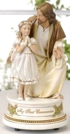 First Communion Little Girl With Jesus Musical Figure The Lord's Praye – Beattitudes Religious Gifts