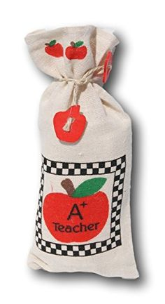 Apple Teacher Themed Fabric TieShut Treat Bags  Set of 4 >>> Be sure to check out this helpful article. #AppreciationGift