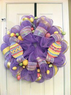 Deco Mesh Wreath for Easter. So cute!