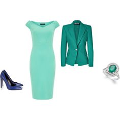 """""""Clear Summer - color combination mint/emerald tyrquoise green"""" by adriana-cizikova on Polyvore"""