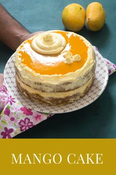 An eggless mango cake with whipped cream frosting and mango glaze on top. A wonderful way to use seasonal mangoes in desserts. Mango Recipes, My Recipes, Indian Food Recipes, Cake Recipes, Vegetarian Recipes, Favorite Recipes, Mango Cream, Mango Cake, Eat Happy