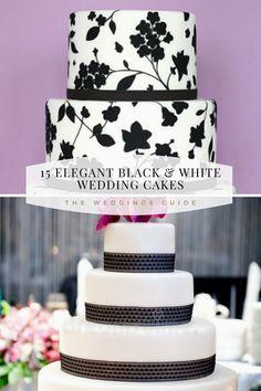 Elegant Black and White Wedding Cakes #blackcakes Pretty Wedding Cakes, Wedding Cake Rustic, Amazing Wedding Cakes, Diy Wedding, Wedding Ideas, Black White Cakes, Black And White Wedding Cake, White Wedding Cakes, Elegant