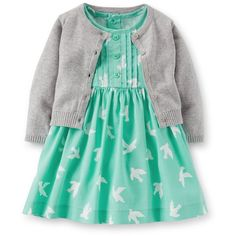 Carter's Baby Girls' 2 Piece Cardigan/Dress Set (Baby) Blue (£15) found on Polyvore