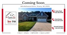 Coming S👀n‼️ Adorable one level home is coming to the market in Bellawood‼️ Give our team a 📞 to see‼️#bellawoodhomes #triadconnectionsteam #homeforsale #fritzconstruction #househunters One Level Homes, Keller Williams Realty, House In The Woods, New Construction, Beautiful Homes, New Homes, Floor Plans, Mansions, House Styles