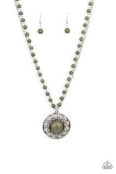 Sahara Suburb - Green Green Necklace, Stone Necklace, Necklace Set, Pendant Necklace, Paparazzi Accessories, Paparazzi Jewelry, Green Stone, Stone Beads, Cute Jewelry