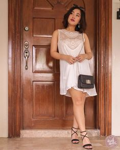 I ordered this sweet round neck cut-out lace spliced sundress along with this pair of mid-heel cross strap buckled sandals & this twist lock flap chain bag. Little White Dresses, My Style, Lace, Fashion, Moda, Fashion Styles, Racing, Fashion Illustrations