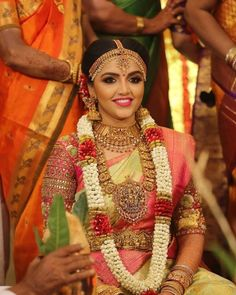 South Indian bride in nakshi work long chain and choker, temple jewellery South Indian Bridal Jewellery, Indian Bridal Fashion, Indian Bridal Wear, Indian Wedding Jewelry, Bridal Jewelry, Bridal Sarees South Indian, Indian Weddings, Indian Wear, Bridal Jewellery Inspiration