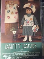 "Indygo Junction 18"" Doll Dress Jumper Skirt Hat n Purse Pattern Dainty Daisies"