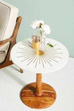 Brass Starburst Round Coffee Table is part of Brass Home Accessories Apartment Therapy Marble& moonlit cool meets the warmth of the sun, via beaming rays of antiqued brass above a handcrafted India - Decor, Rustic Side Table, Home Accessories, White Home Decor, Side Table, Round Coffee Table, Table, Home Decor, Decor Essentials