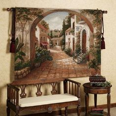 Pass under the stone archway into this Quaint Town. Delightful wall tapestry scene features buildings with flowers and foliage growing profusely on both. Italian Home Decor, Rustic Italian, Mediterranean Home Decor, Mediterranean Recipes, Tuscan Decorating, Interior Decorating, Decorating Ideas, Decorating Houses, Interior Design