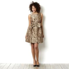 Bow Front Rose Jacquard Dress by Taylor Dresses