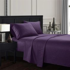 Introducing the Purple Stripe Sheet Set. The high-quality, neatly interwoven strands are tailored and inspired by our 300 Thread Count pieces. Imagine the attention you'll get with this royal purple color. The royalty of the rich striped purple set will create a stir in any room. Black Bed Sheets, Linen Bed Sheets, Luxury Bed Sheets, Soft Bed Sheets, Flat Sheets, King Size Bed Sheets, King Sheet Sets, Striped Bedding, Black Bedding