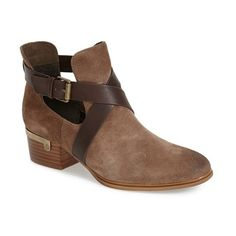 "Isolá 'Davan' Bootie , 1 3/4"" heel (7,705 MKD) ❤ liked on Polyvore featuring shoes, boots, ankle booties, ankle boots, havana brown suede, brown bootie, chunky ankle boots, cut out bootie, brown booties and cut-out ankle boots"