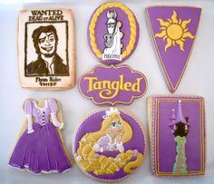Oh Sugar Events: Rapunzel Cookies Iced Cookies, Royal Icing Cookies, Fun Cookies, Cupcake Cookies, Sugar Cookies, Decorated Cookies, Disney Cookies, Disney Cupcakes, Disney Desserts