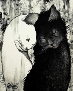 Original art print made on thick photo paper reproduction of a hand … - crazy cats Image Chat, Art Et Illustration, Cat Illustrations, Illustration Pictures, Art Original, Cat Love, Crazy Cats, Oeuvre D'art, Cats And Kittens