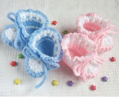 Crochet Baby Booties Pink White and Blue White Baby Boots for Girl for Boy for Newborn Christening Shoes knitted Baby Shower Gift #BabyBooties  #BabyShowerGift #Booties #BootiesForNewborn
