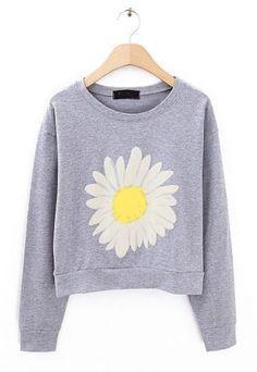 Grey Long Sleeve Sunflower Print Crop Sweatshirt -SheIn(Sheinside) Mobile Site