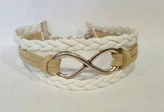 Bracelet cuir blanc et beige EloDie Bijoux