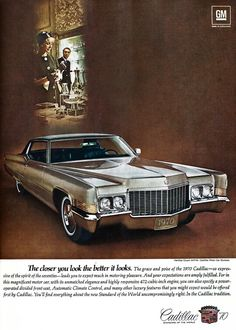 Cadillac Automobile Original 1970 Vintage Print Ad w/ Color Photo of Silver…